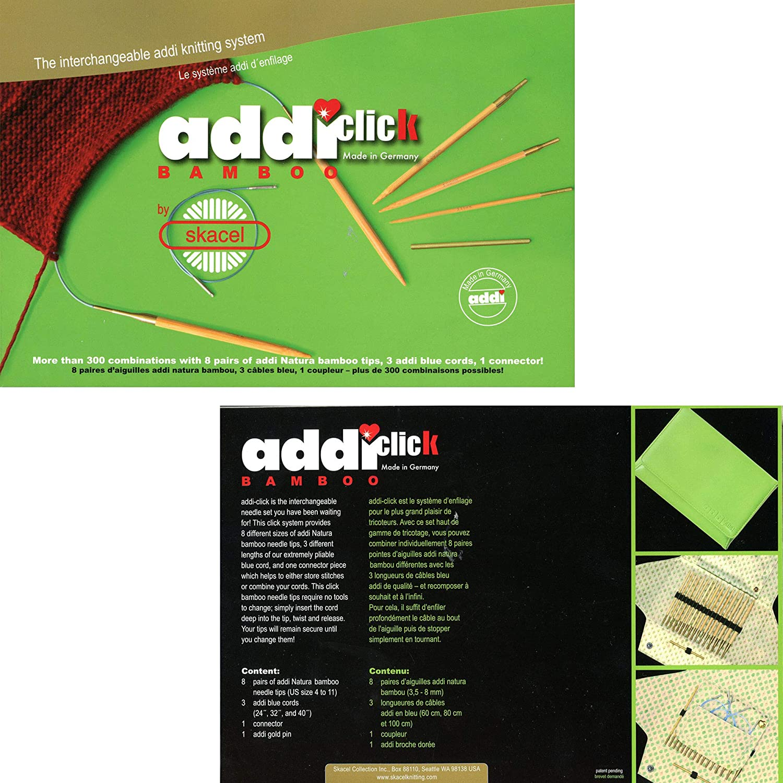 Gr/ün 25 x 17 x 3.5 cm Bambus ADDI Austauschbare Rundstricknadeln