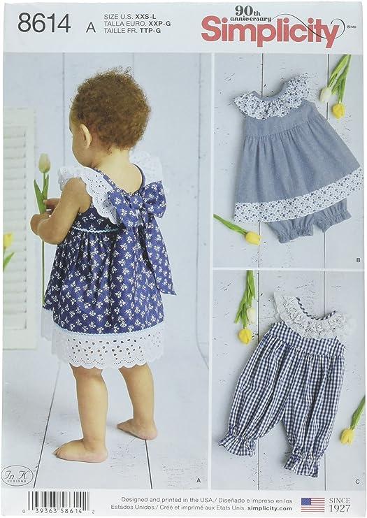 Simplicity 8614Pattern 8614 - Vestido para bebé, diseño de Pelele ...