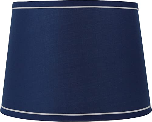 Urbanest French Drum with White Trim 12x14x10 Lampshade, Navy Blue