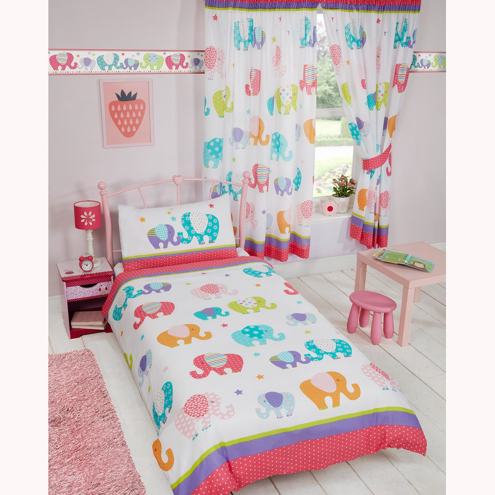 Patchwork Elephant Junior Duvet Cover and Pillowcase Set + Waterproof Toddler Bed Mattress Protector