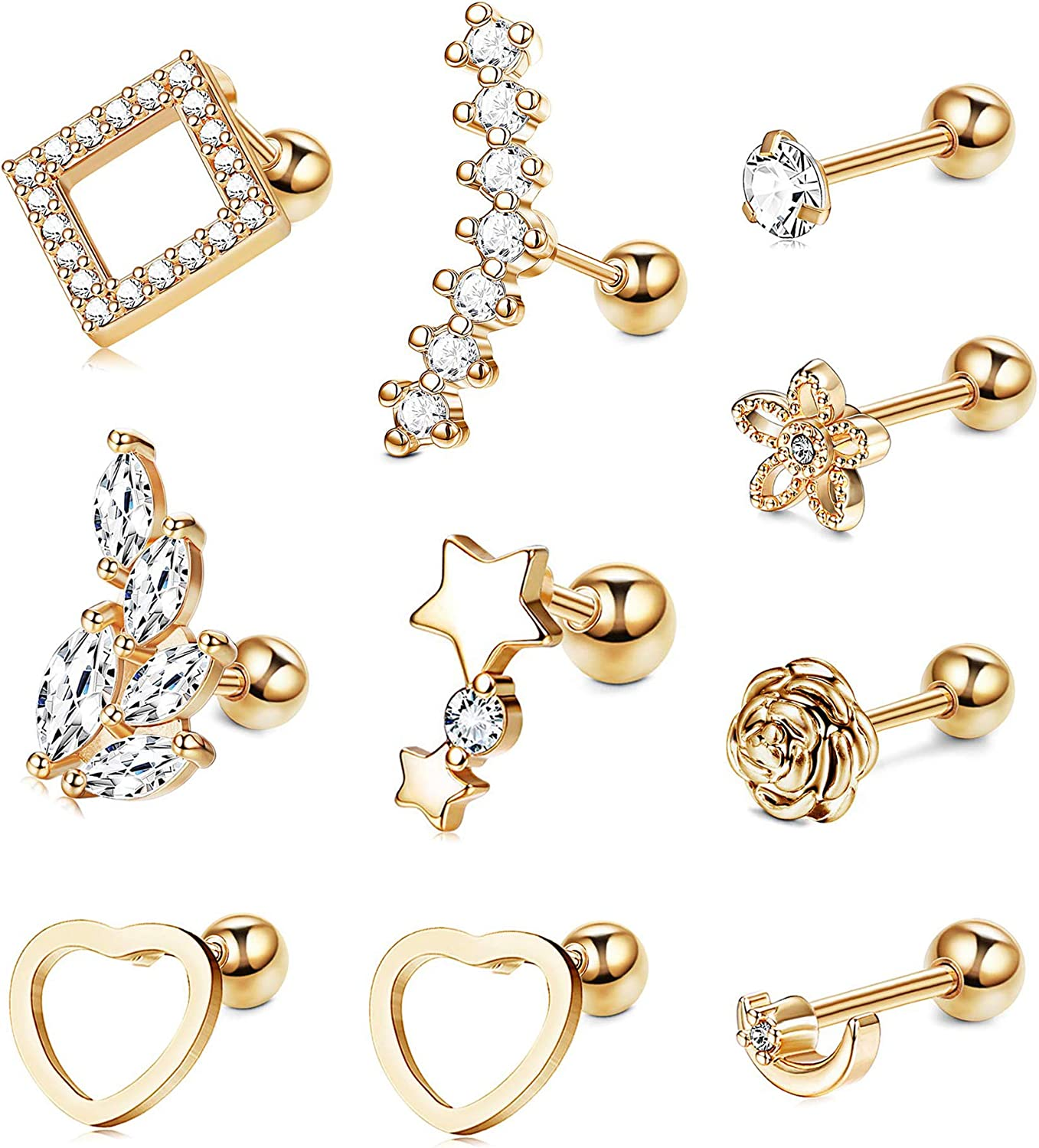 10 Pairs 16g Ear Cartilage Helix Surgical Stainless Steel Cubic Zirconia Stud Cartilage Earrings Huggie Screw Backs Ear Tragus Auricle Cute Love Heart Flower Barbell Piercing Jewelry Set 4mm Gifts