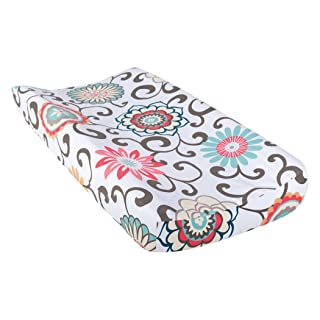 Trend Lab Waverly Baby Pom Pom Play Changing Pad Cover, Coral/Teal/Yellow