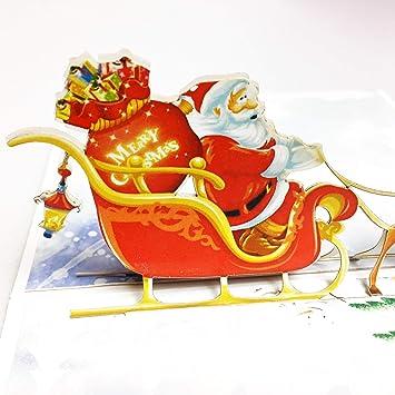 Amazon Creve 3d 立体 ポップアップ グリーティング カード クリスマスカード サンタとトナカイ かわいいイラスト付 クリスマスシール付属 グリーティングカード 文房具 オフィス用品