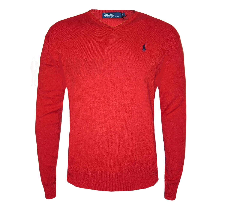 Ralph Lauren Polo para hombre de lujo, cuello en V, jersey, negro, gris, azul oscuro y rojo, S, M, L, XL, XXL, 100% algodón Pima negro rosso Small: ...