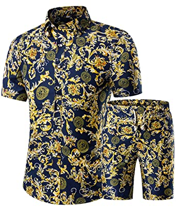 4272ca025025 Men s Floral 2 Piece Tracksuit Short Sleeve Top and Shorts at Amazon Men s  Clothing store