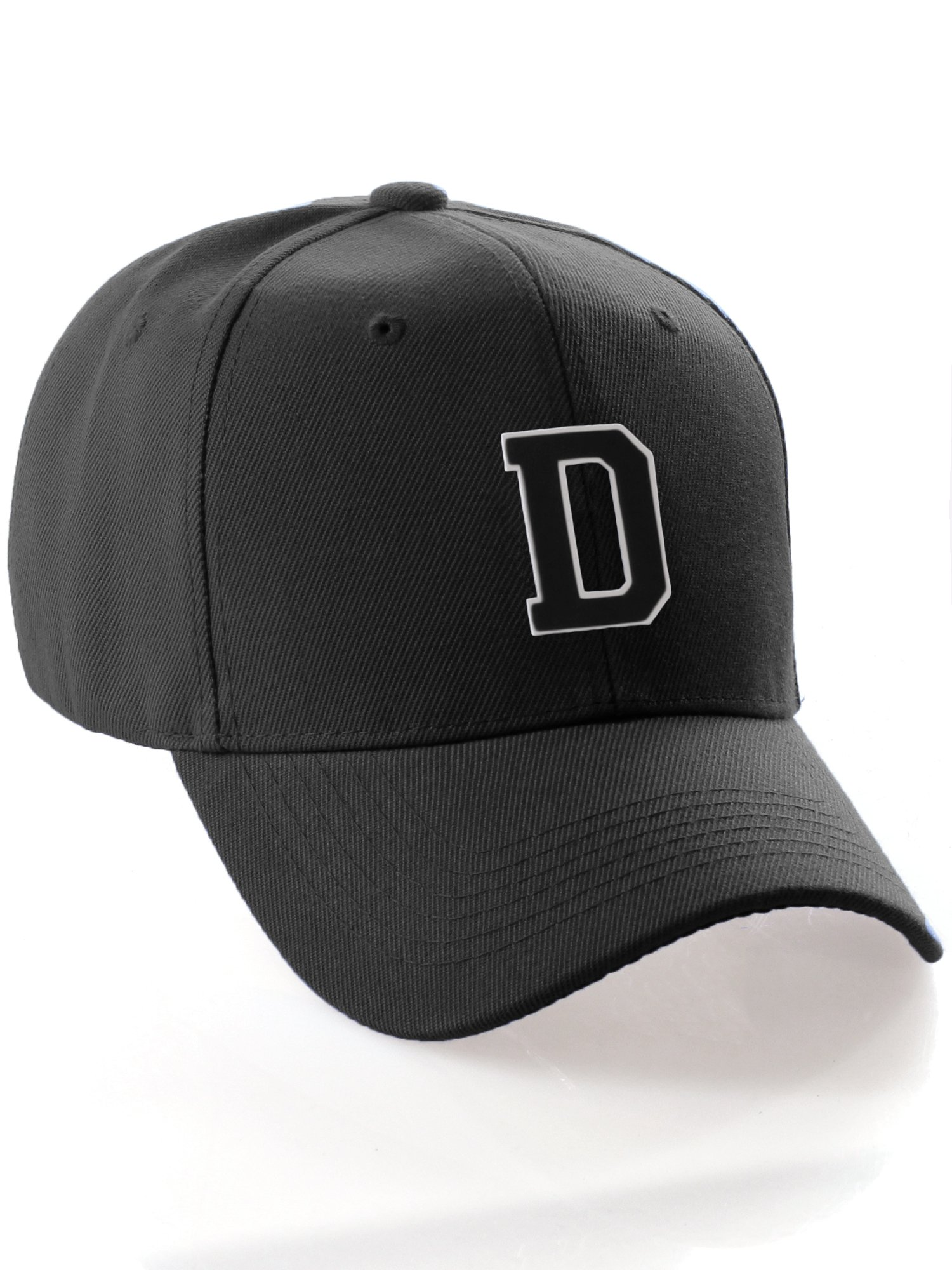 Classic Structured Baseball Cap Cutstom Initial Letters A to Z Double Layer  Raised - Black Hat White Black Letter D 5a60434869cc