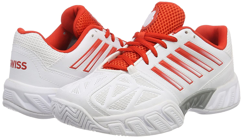 K-Swiss Bigshot Light 3 Womens Tennis Shoe B078ZMW678 6.5 B(M) US|White/Fiesta/Silver
