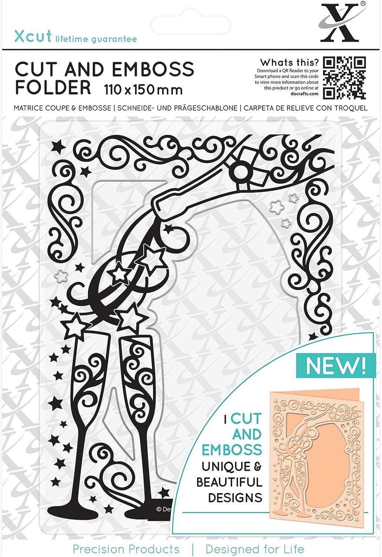 Docrafts Xcut A6 universal embossing folder 15x10cm Art Deco SCALLOP
