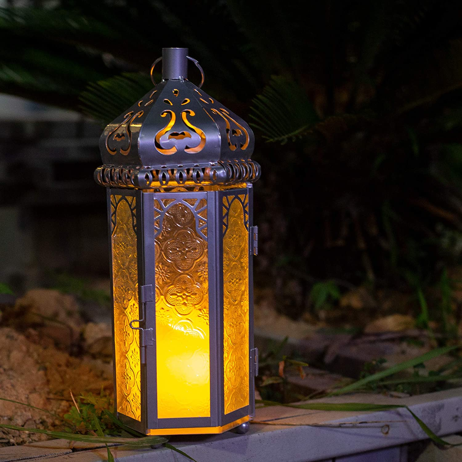 Moroccan Hanging Candle Lantern, Moroccan Home Decor Candle Holder, Wedding&Christmas Outdoor Table Lantern (Silver Color with Transfer Glass)