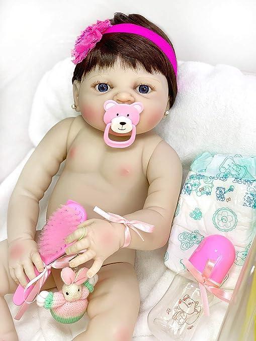 89efcce7ba7d2a Boneca realista Bebe Reborn menina de silicone c/ enxoval + mochila ...