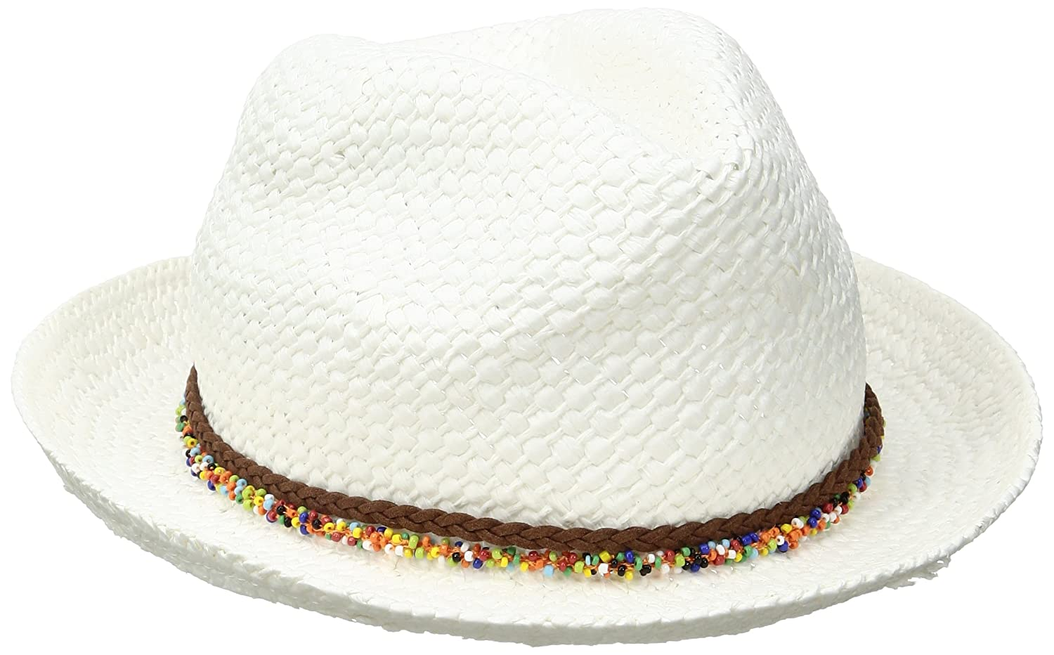 Steve Madden Women\u0027s Fedora with Sprinkle Beads, Ivory, One Size at Amazon Clothing store:
