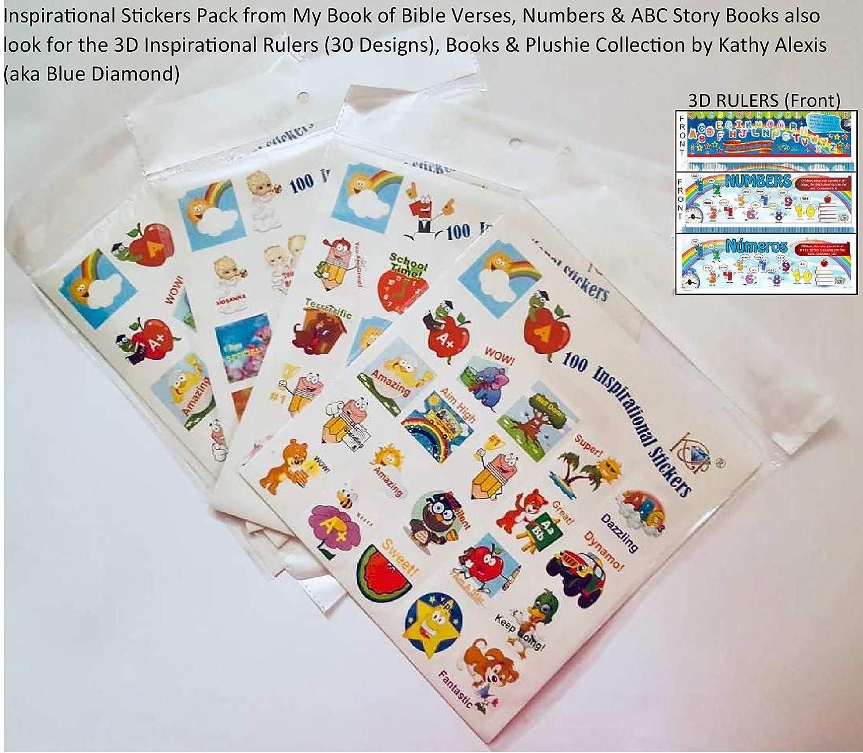 Encouraging Stickers by Blue Diamond Publishing 100 4cm x 4cm My Alphabet Story Book Inspirational Stickers
