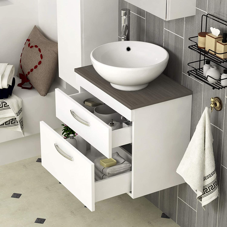 420mm Round Countertop Basin 500mm Bathroom Furniture 2 Drawer Wall Hung Worktop Vanity Unit Gloss White