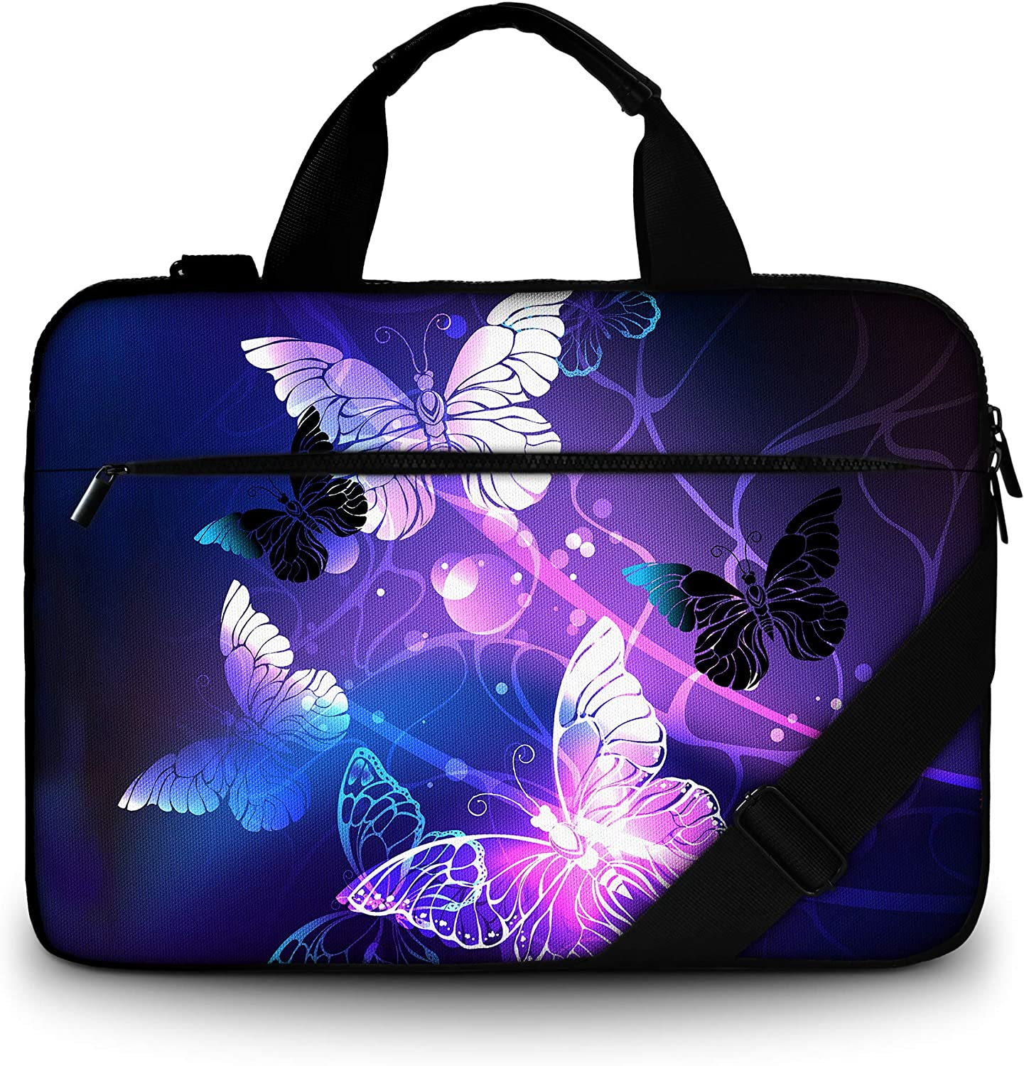 RICHEN Canvas Laptop Shoulder Bag Compatible with 11.6/12/12.9/13 Inches Laptop Netbook,Protective Canvas Carrying Handbag Briefcase Sleeve Case Cover with Side Handle (11-13 inch, White Butterflies)