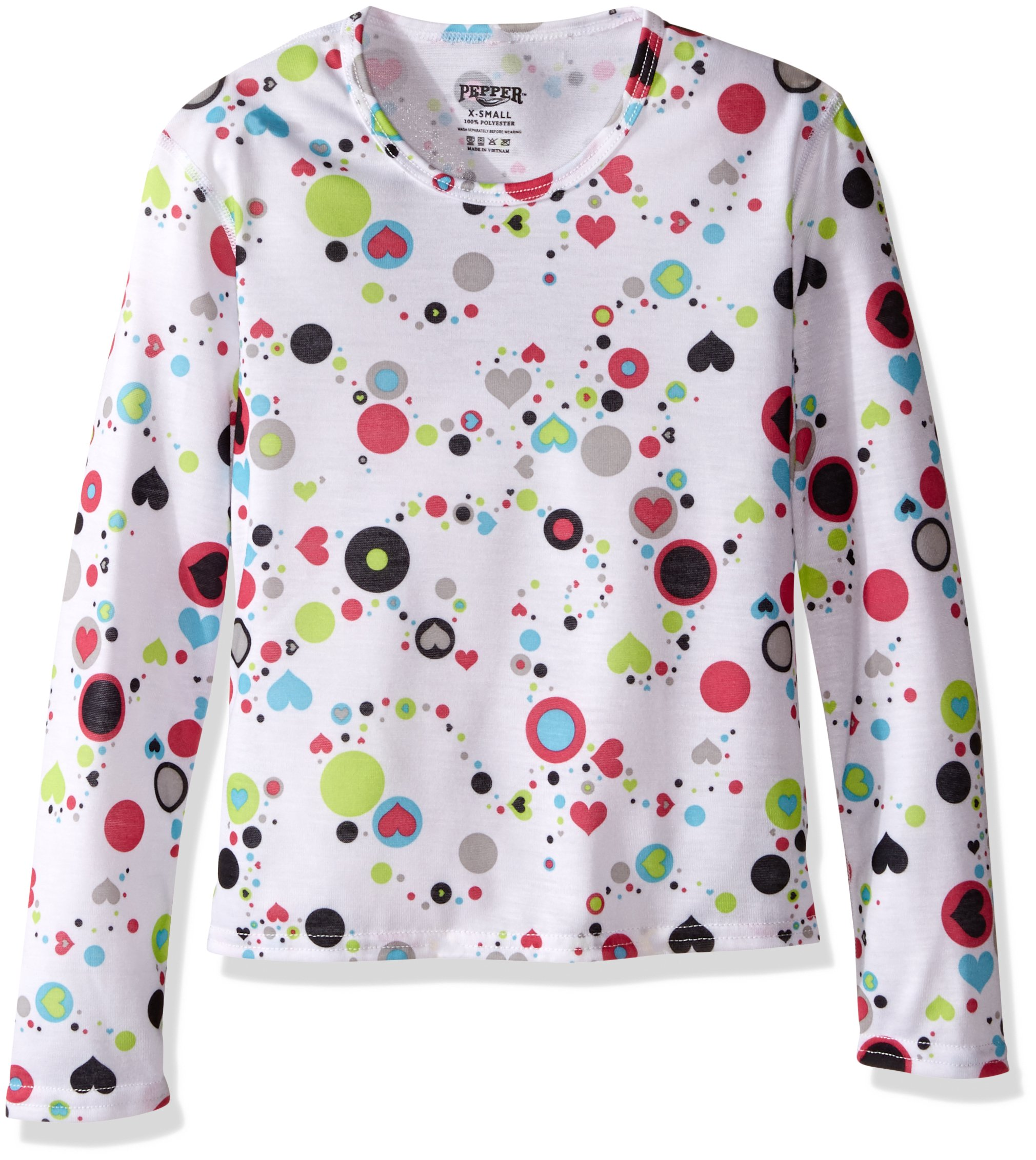 Hot Chillys Youth Pepper Skins Print Crewneck, Dots & Hearts-White, Small by Hot Chillys