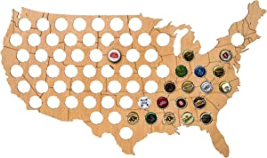 """MyFancyCraft Handmade USA Beer Cap - Map - Solid 0.25"""" Thick - 69 Piece - Wood Bottle Cap - Holder with Wall - Hanger - Quality & Guarantee"""