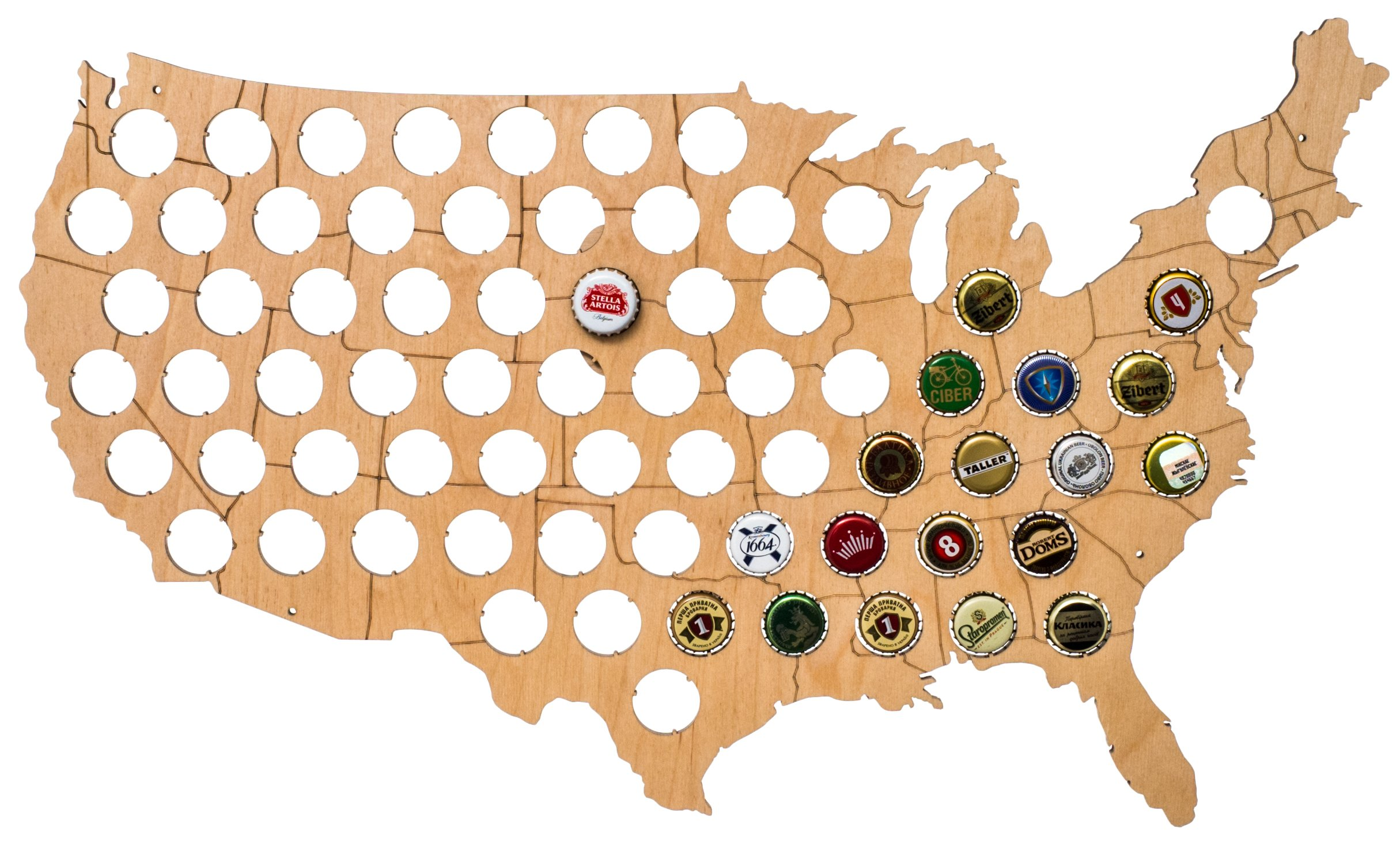 USA Beer Cap Map - Solid 0.25'' Thick - 69 Piece Wood Bottle Cap Holder with Wall Hanger - Quality & Guarantee by MyFancyCraft