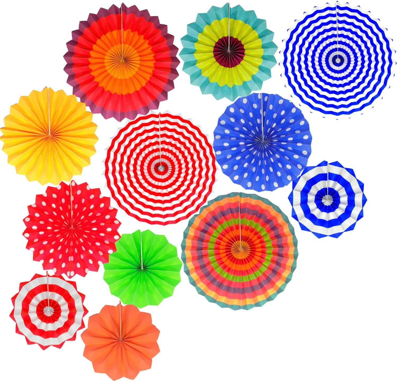 Fiesta Decorations Hanging Paper Fans- Colorful Mexican Fiesta Party Supplies Photo Props for Events,Wedding Birthday Carnival Baby Shower Party Decorations (Set of 12)