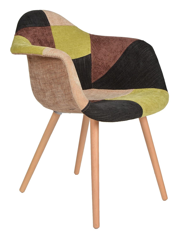 1 X Design Klassiker Patchwork Sessel Retro 50er Jahre Barstuhl Wohnzimmer  Büro Küchen Stuhl Esszimmer Sitz Holz Stoff Bunt: Amazon.de: Küche U0026  Haushalt
