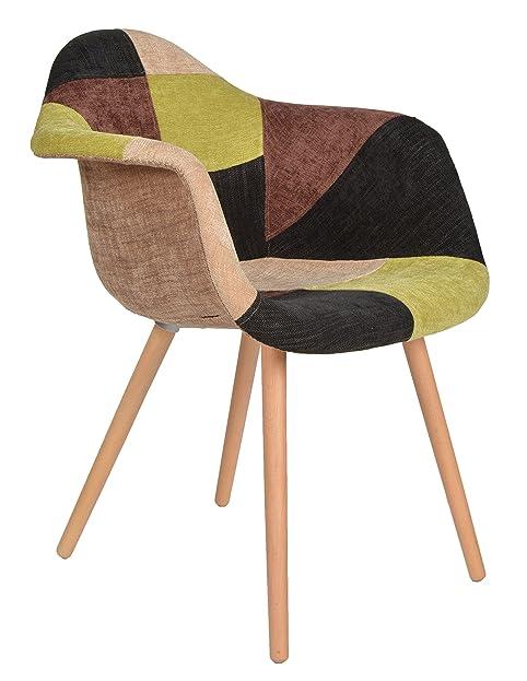 1 X Design Klassiker Patchwork Sessel Retro 50er Jahre Barstuhl Wohnzimmer  Büro Küchen Stuhl Esszimmer Sitz