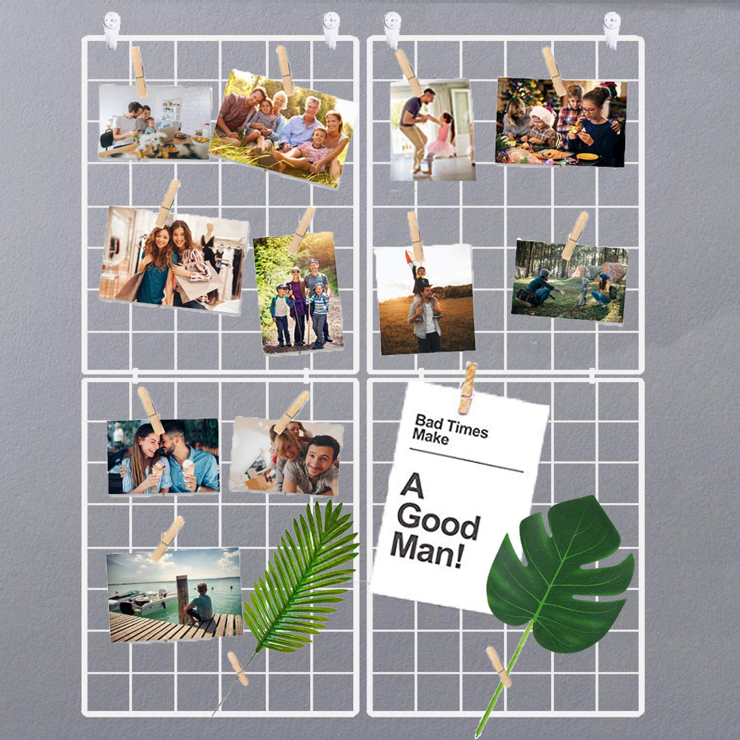 Halvalo Wire Grid Panel Wall Grid Display Board Wall Organizer Photo Picture Display Frames Wall Picture Holder Mesh Memo Board (2 Pack)