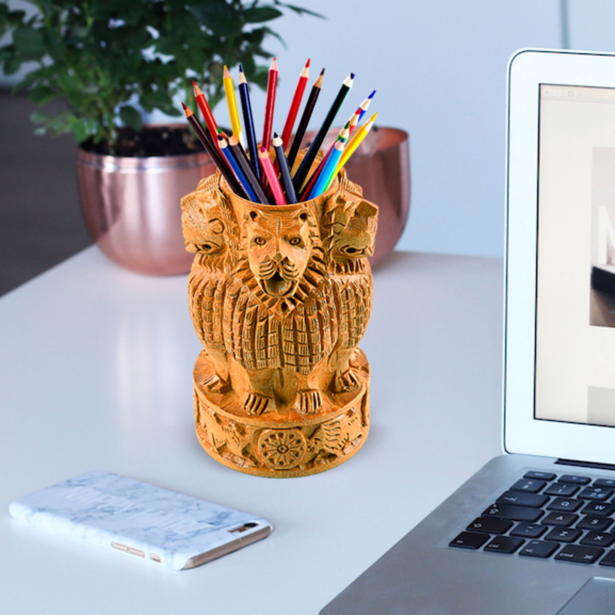 Fine Craft India Beautiful Natural Wood With Fine Carving Ashoka Emblem Shape Design Wooden Decorative 5'' |Pen| |Pencils| Box Stand Case Organizers Holder For |Desk| Notebook