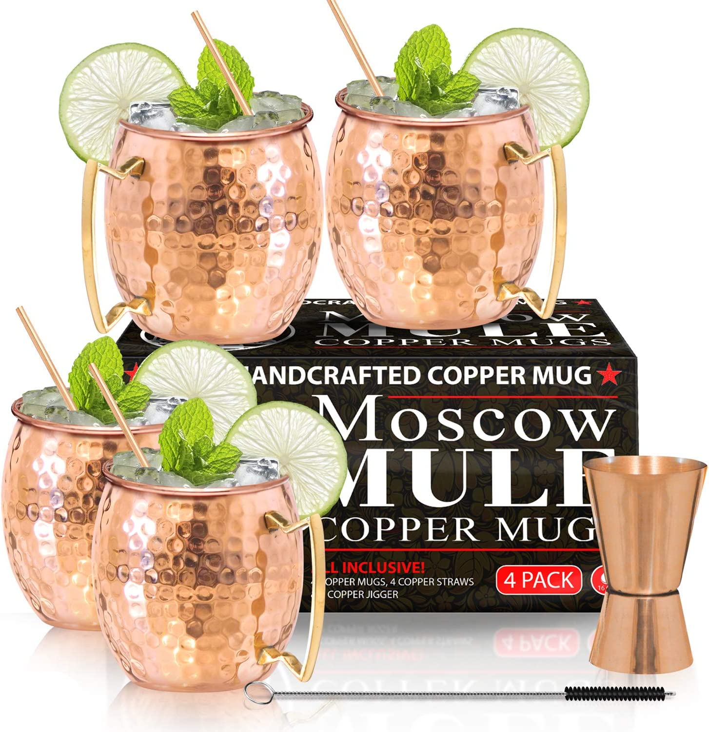 Moscow Mule Copper Mugs - Set of 4 - 100% HANDCRAFTED - Food Safe Pure Solid Copper Mugs - 16 oz Gift Set with BONUS: Highest Qu