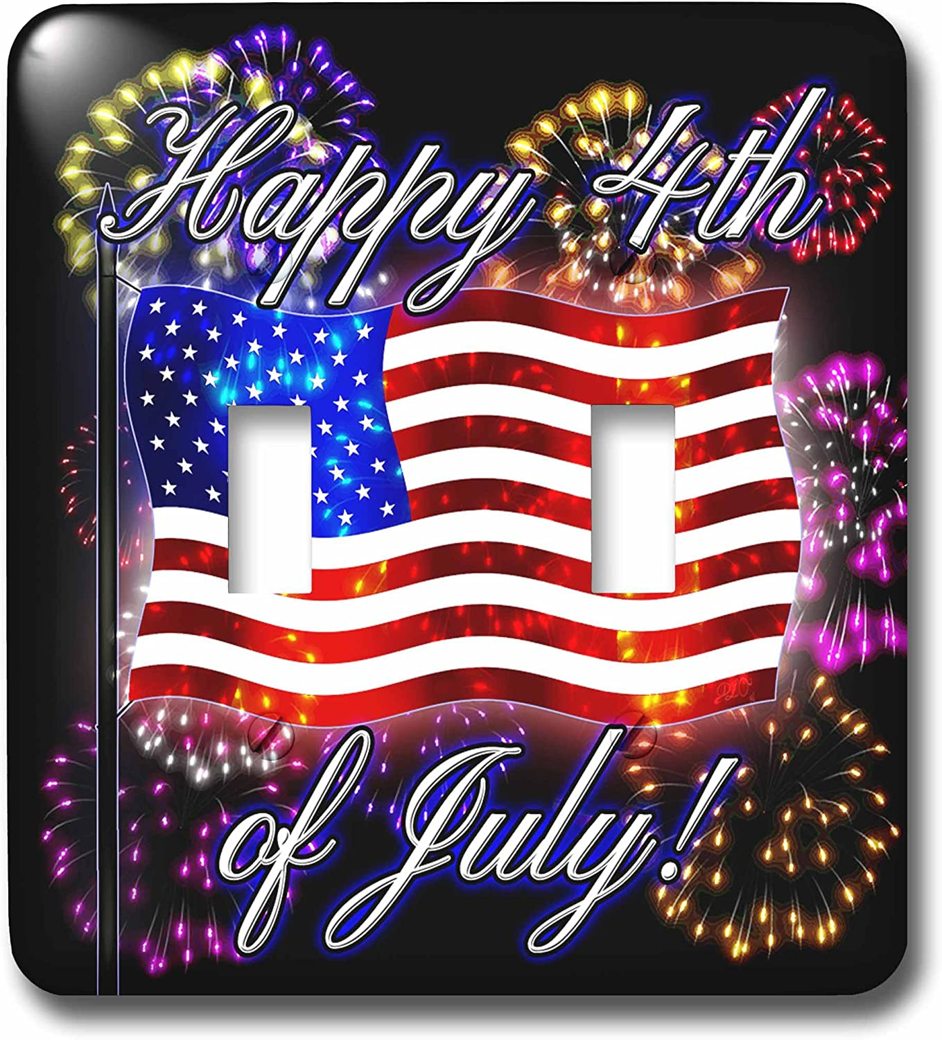 3drose Lsp 242308 2 4th Of July American Flag With Fireworks Digital Art Double Toggle Switch