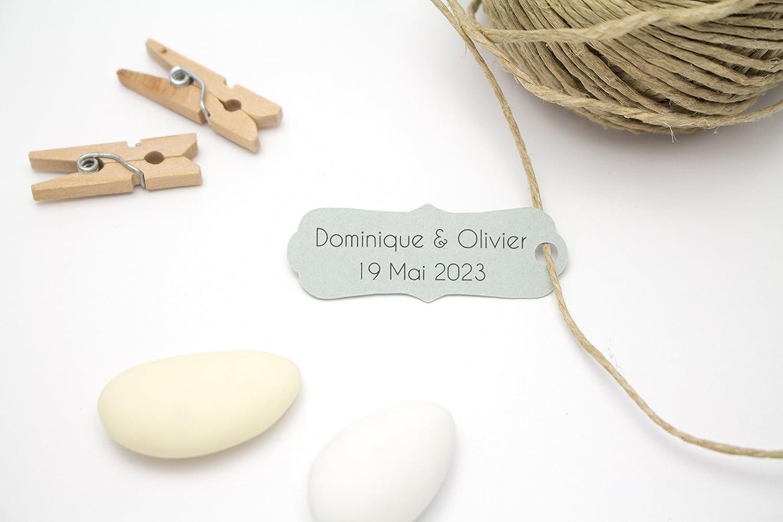 10 mini étiquettes personnalisables, forme baroque allongée