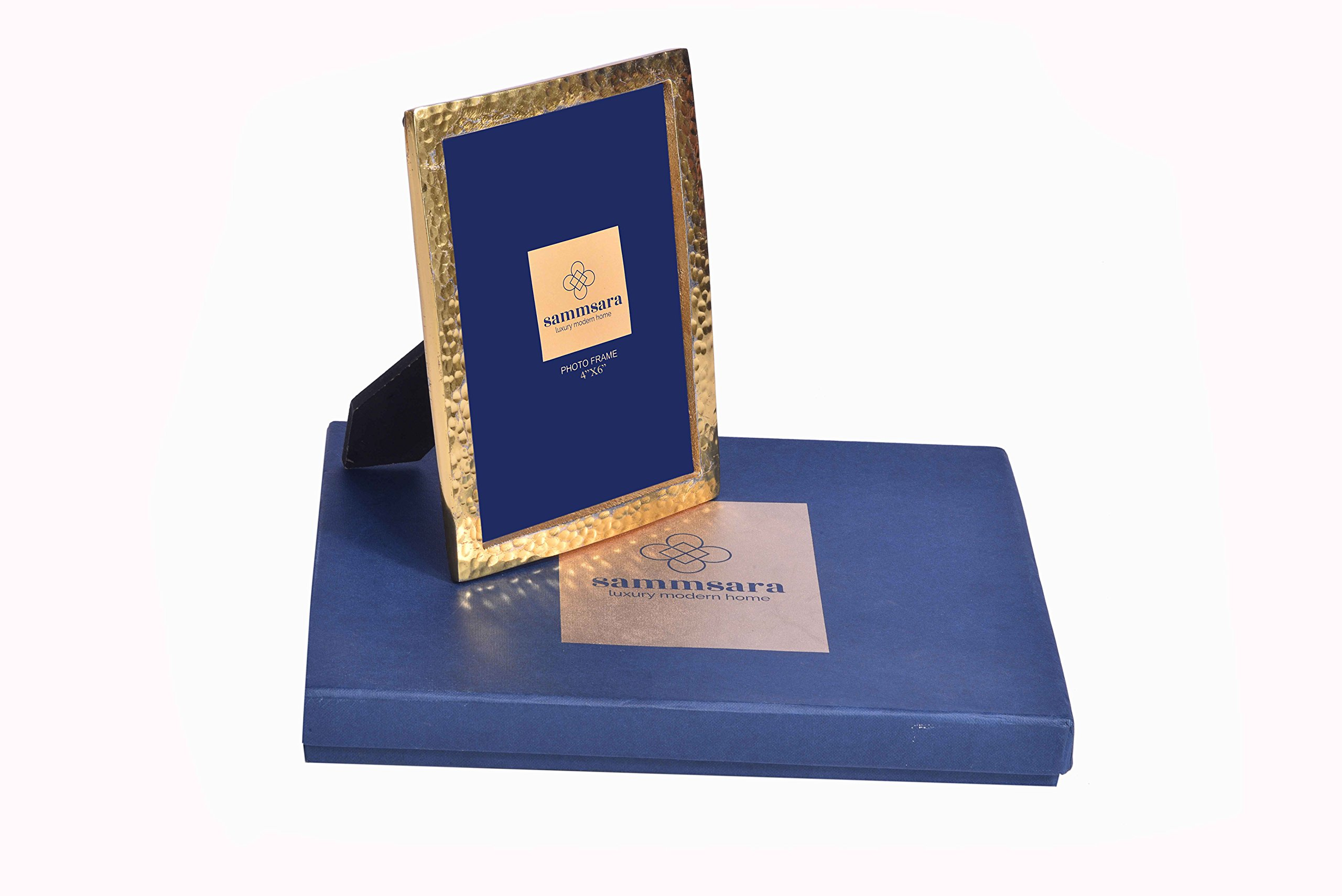 """Gabriel Gold Hammered Photo Frame Small 4X6"""" Photosize with Free Beautiful Gift Box"""