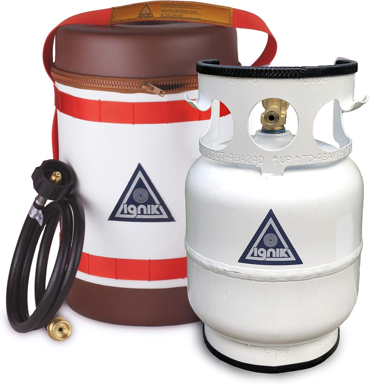 Ignik - Kit de Gas propano Recargable con Manguera adaptadora y Funda de Transporte (5 Libras)