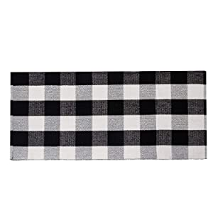 "SHACOS Buffalo Plaid Runner Rug Cotton Throw Rug Washable Woven Cotton Rug Runner 23.6x51.2 inch (2'x4'4"")"