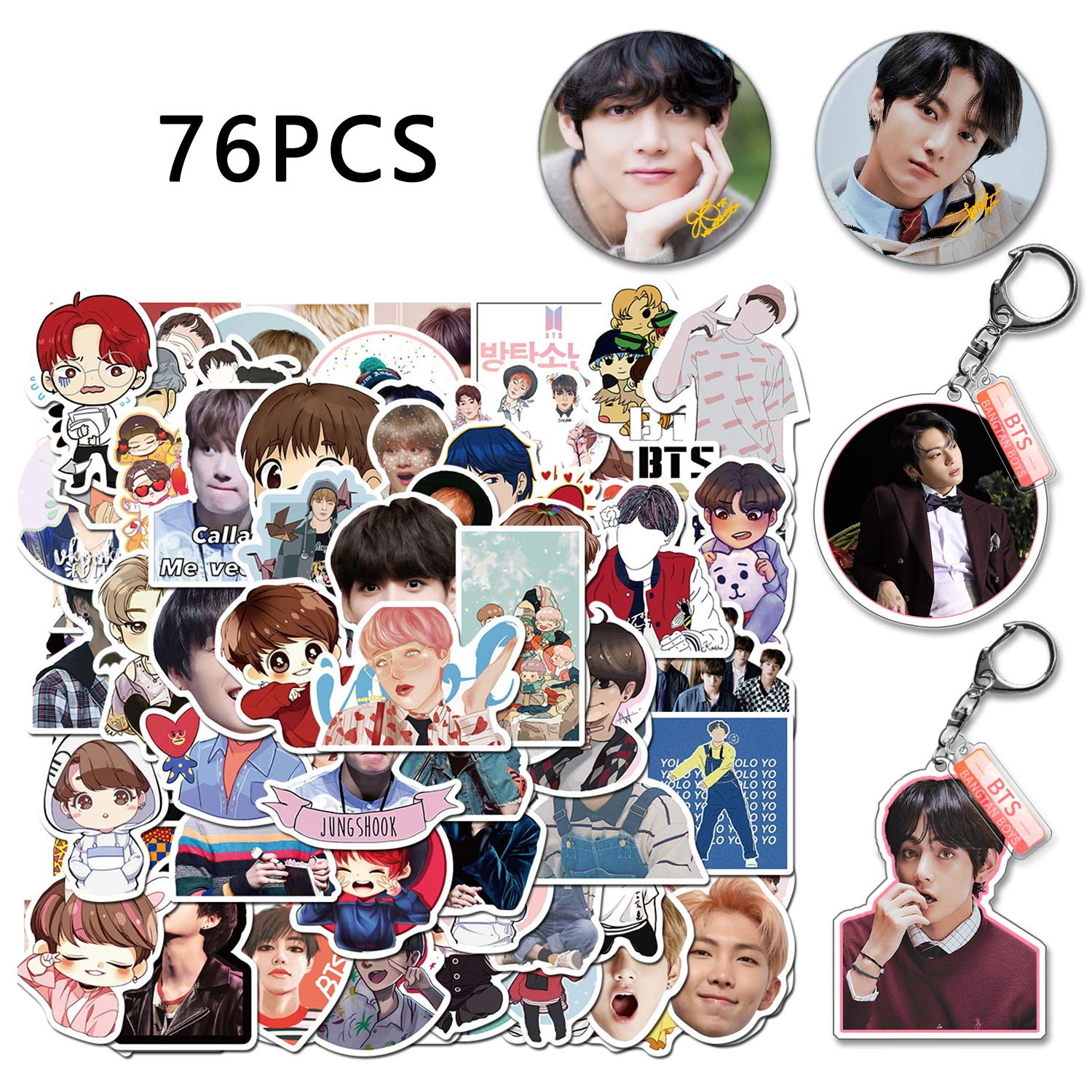 Kilmila Kpop Singer BTS Stickers 76Pcs (with JUNG KOOK & V Button Pin and Keychain).Bangtan Boys Stickers Fan Set for Laptop Water Bottle Luggage Snowboard Bicycle