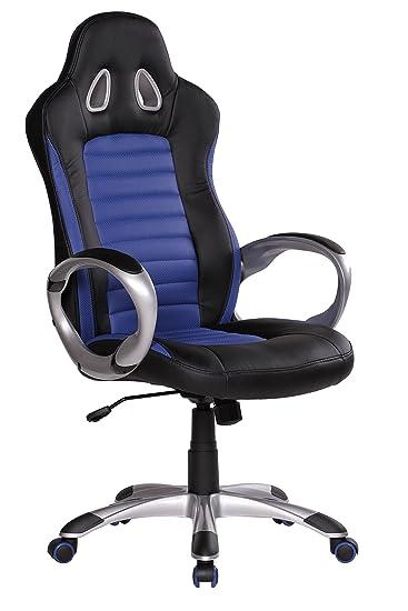 Amstyle SPM1, 214 con diseño de carreras con diseño de deportes de la silla, de piel sintética de silla de oficina, colour azul/negro: Amazon.es: Hogar