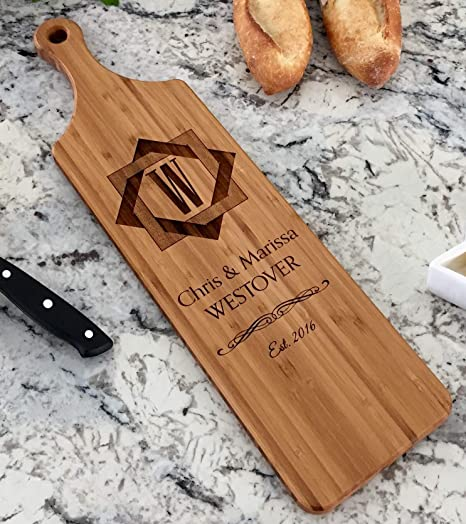 Personalized Cutting Board Established Family Kitchen Art Perfect Wedding Gift-10 x 13 Inches Shown in Mahogany Wood