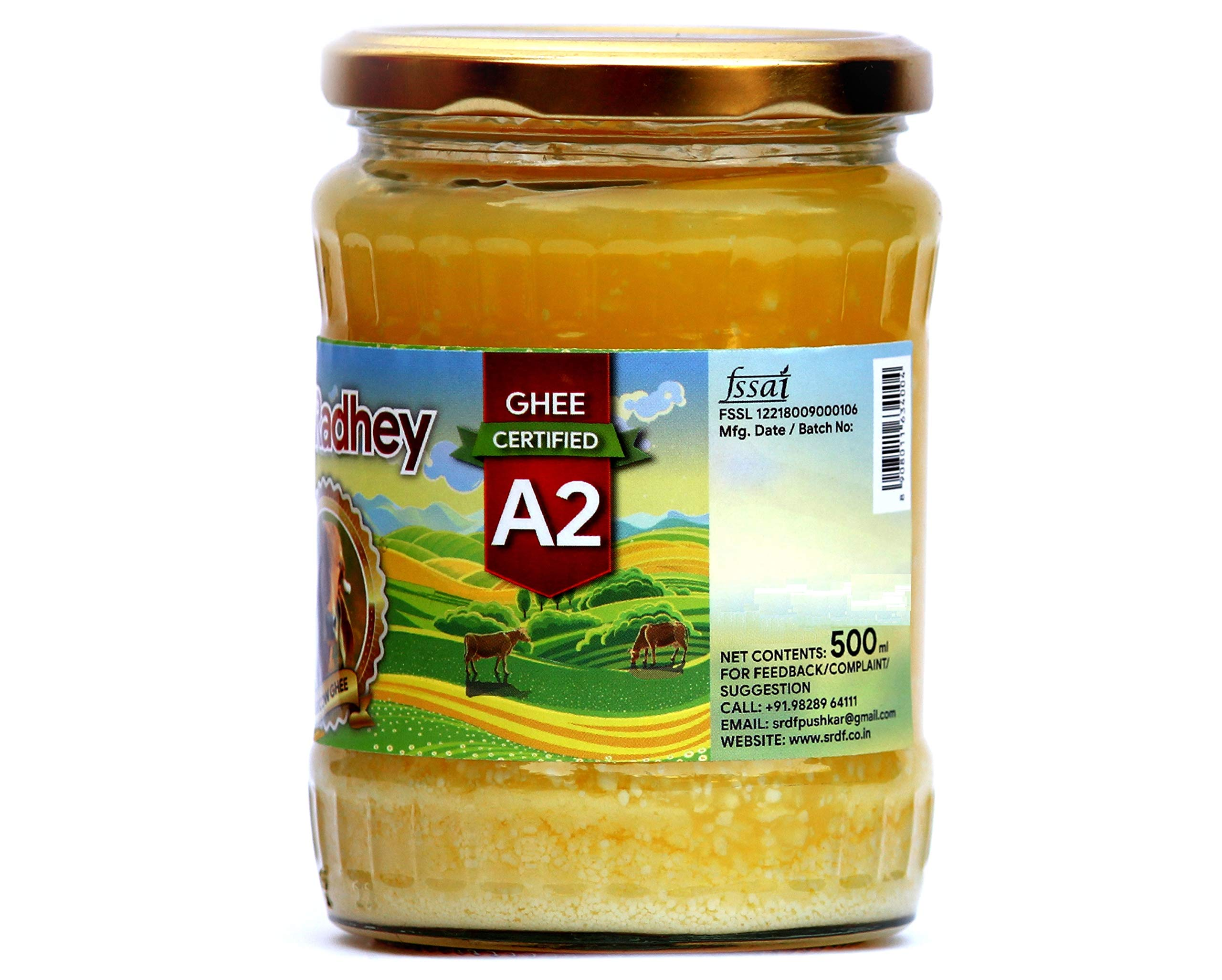 Shree Radhey Certified A2 Gir Cow Ghee - Clarified Butter - 100 % Grass Fed- (Traditionaly Churned) 14 oz (400 gm)) by Shree Radhey (Image #3)