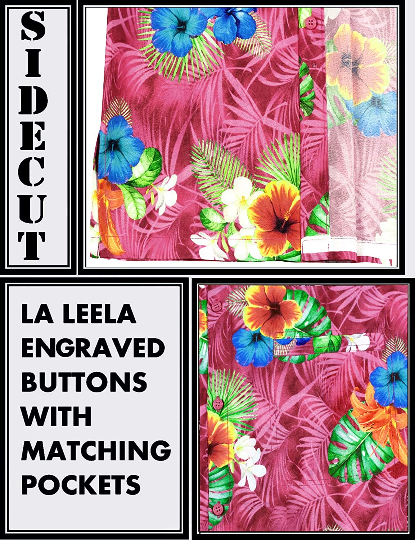 Manga Corta LA LEELA Se/ñores Playa Impresi/ón De Hawaii Hibisco Floral Flor Impreso Bolsillo Delantero Funky Camisa Hawaiana