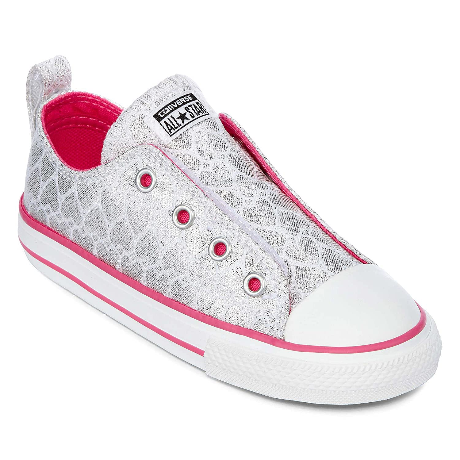 Silber Rosa Weiß Converse Unisex-Kinder CTAS-ox-Charcoal-Infant Fitnessschuhe