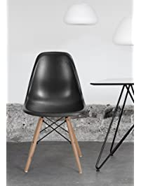 Set Of 4 Eames Style Chair Natural Wood Legs Cushion Seat And Back For Dining  Room