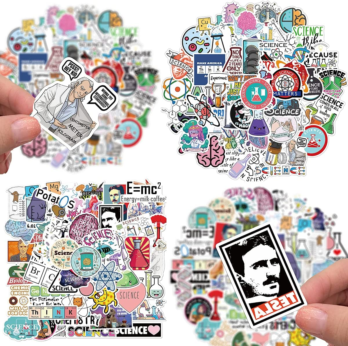 100 PCS Student Science Laboratory Stickers Physics Chemistry Biology Experiment Science VSCO Stickers Waterproof Vinyl Stickers Decals for Water Bottle Laptop Luggage for Adults Teens Girls