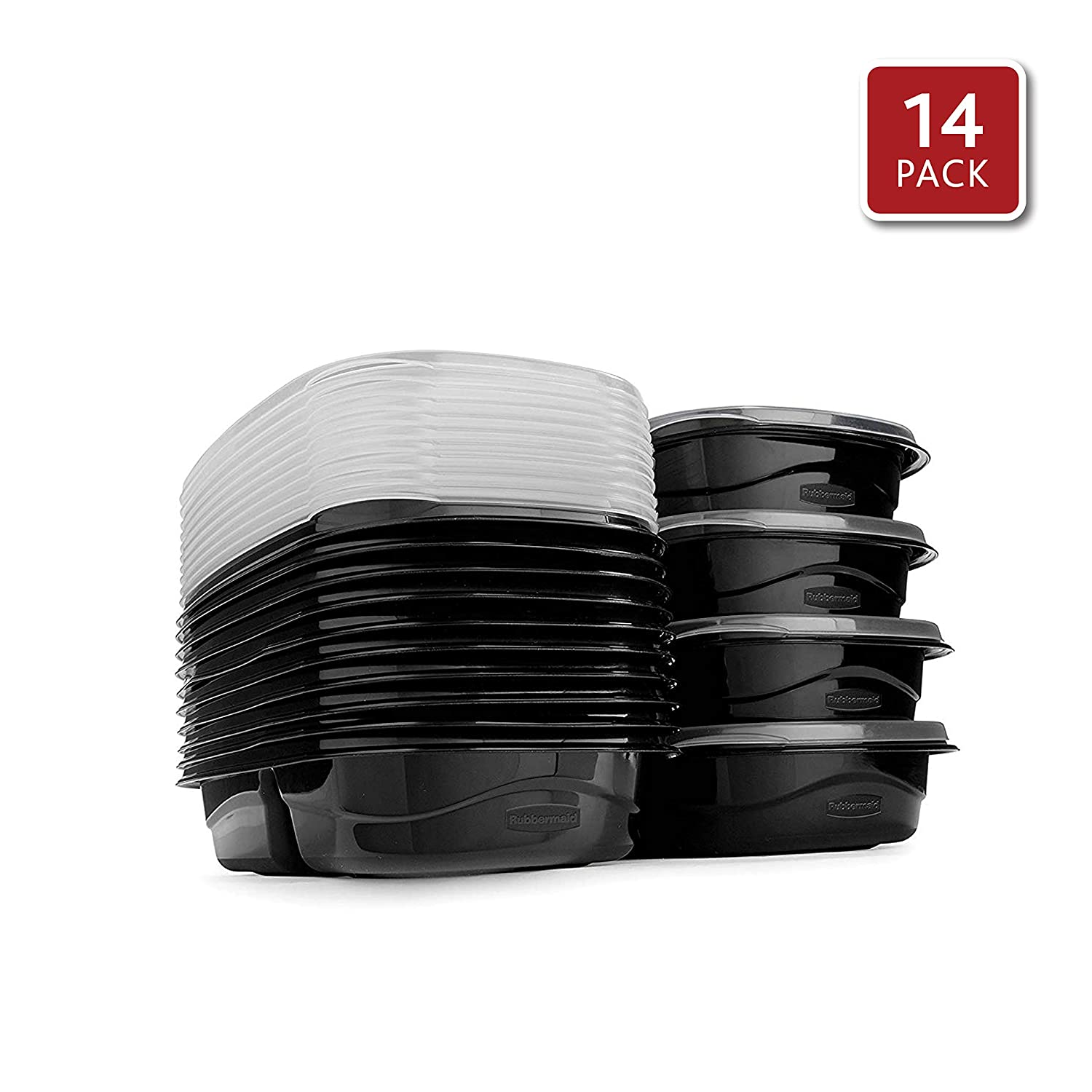 Rubbermaid TakeAlongs Food Storage Containers with Divided Base, 3.7 Cup, Set of 7 (14 Pieces Total), Black | Great for Meal Prep, Lunch for Adults & Kids, Bento Box Style | Reusable & Stackable