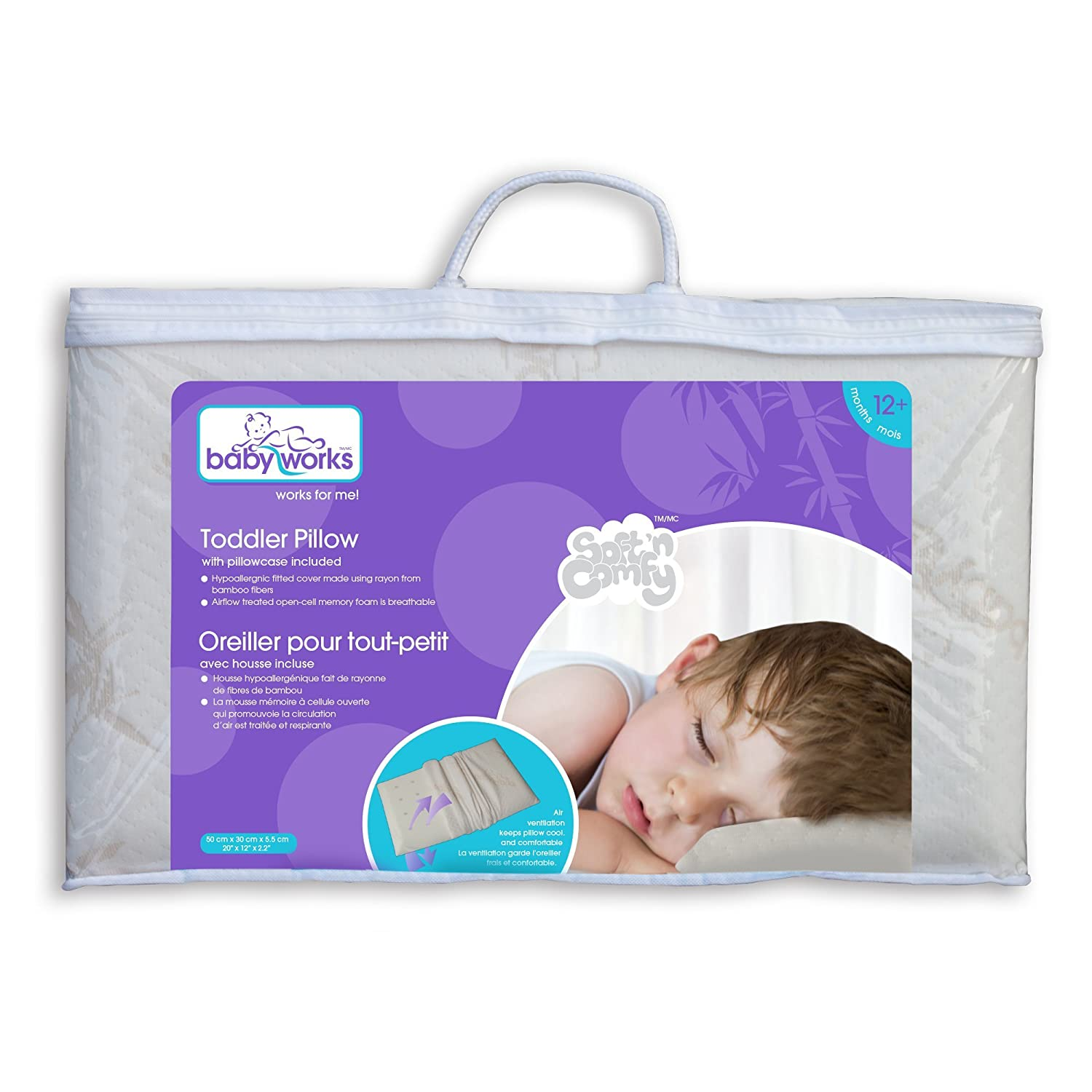 Baby Works Toddler Pillow With Bamboo Pillowcase Off White