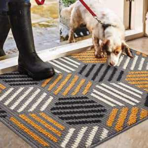 "Color&Geometry Indoor Doormat, Indoor Outdoor 24""x36"" Mat Waterproof, Non Slip Washable Quickly Absorb Moisture and Resist Dirt Rugs for Entrance"
