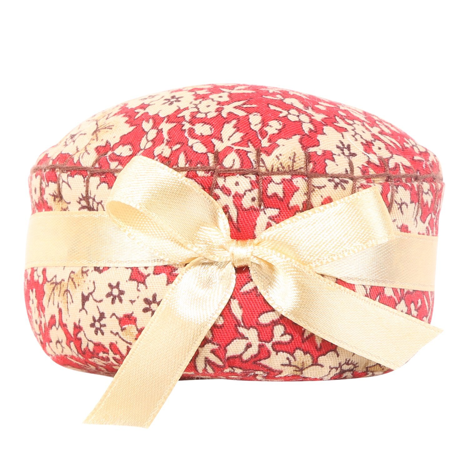 Neoviva Fabric Coated Pin Cushion for Long Needle with Satin Ribbon, Style Cupcake, Pack of 2, Floral Mandarin Red Blossom