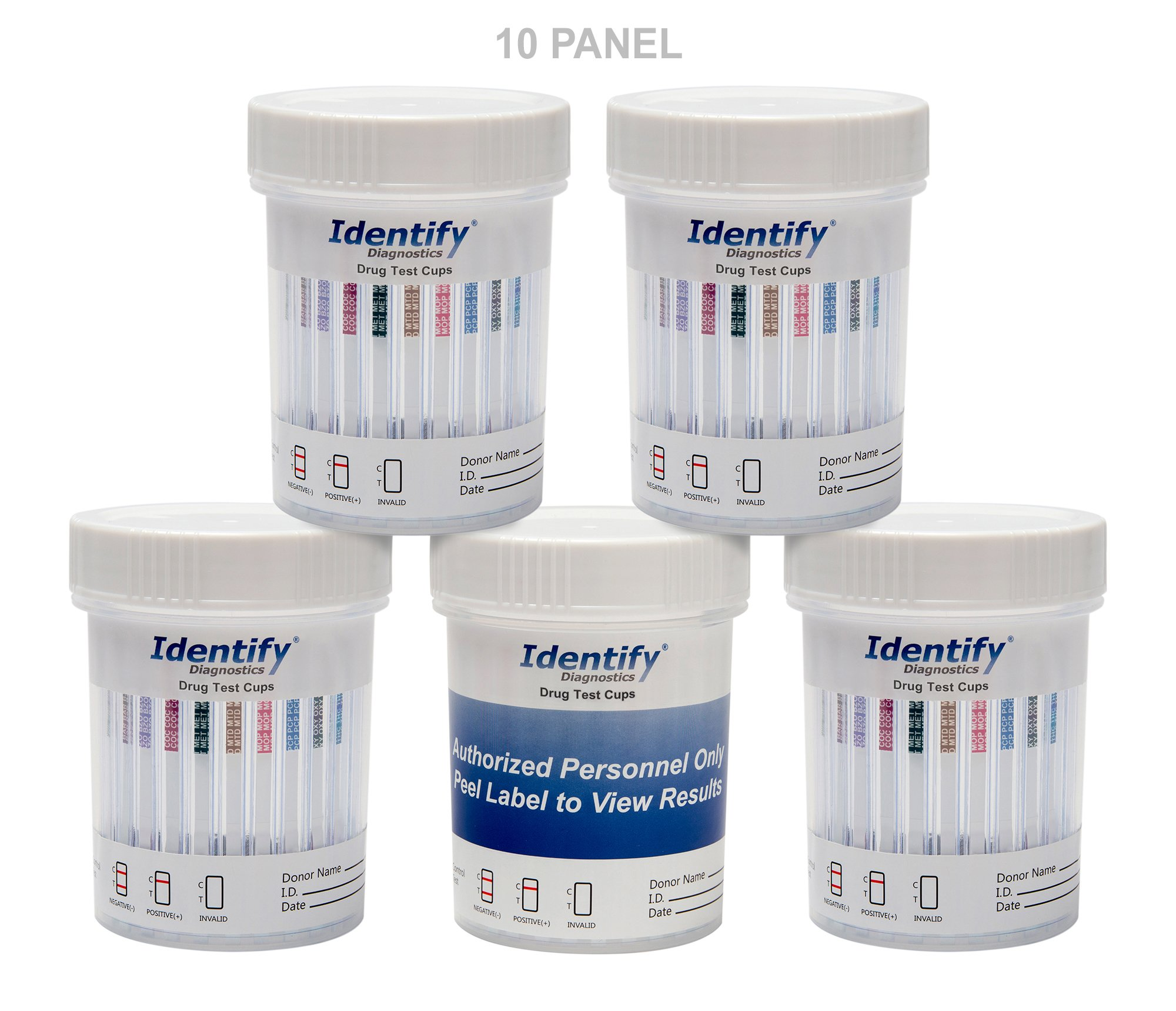 5 Pack Identify Diagnostics 10 Panel Drug Test Cup Testing Instantly for 10 Different Drugs: (THC), (COC), (OXY), (MOP), (AMP), (BAR), (BZO), (MET), (MTD), (PCP) #ID-CP10-AZ