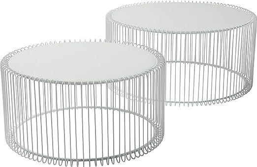 Kare Design Couchtisch Wire White 2er Set, runder, moderner