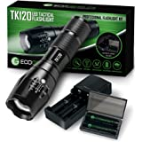 Complete LED Tactical Flashlight Kit - EcoGear FX TK120: High Lumens with 5 Light Modes, Water Resistant, Zoomable - Includes