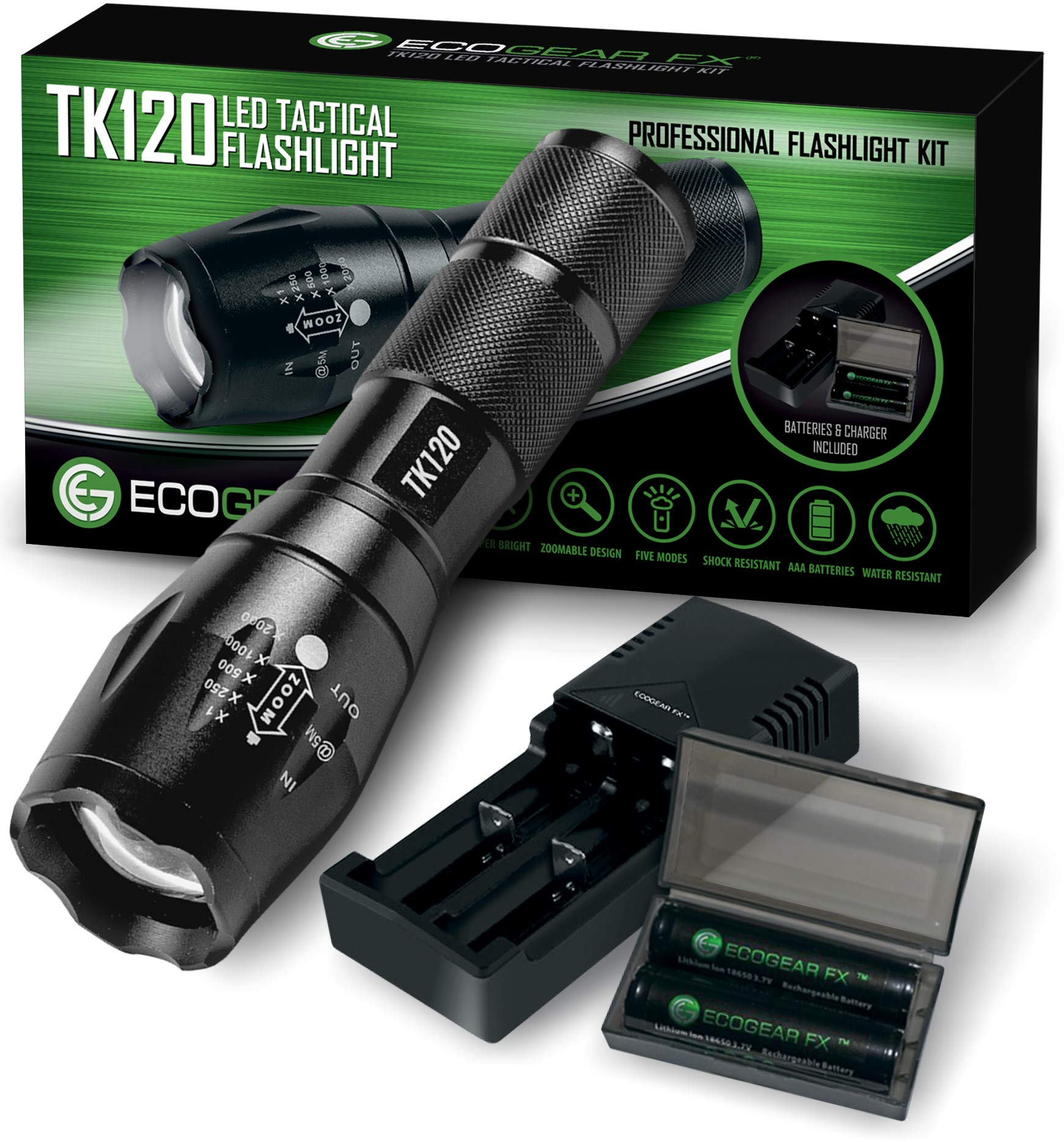 Complete LED Tactical Flashlight Kit - EcoGear FX TK120: Handheld Light with 5 Light Modes, Water Resistant, Zoomable - Includes Rechargeable Batteries and Battery Charger - Perfect Gift for Men by EcoGear FX