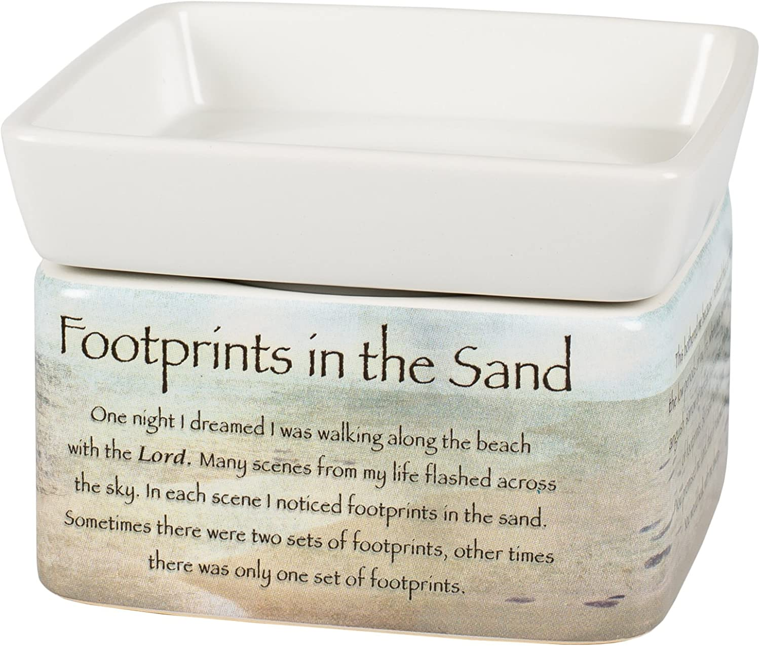 Elanze Designs Footprints in The Sand Ceramic Stoneware Electric 2 in 1 Jar Candle and Wax and Oil Warmer