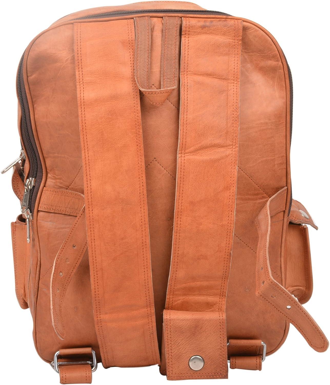 Genuine Leather Brown Vintage Look Multi Pocket Backpack